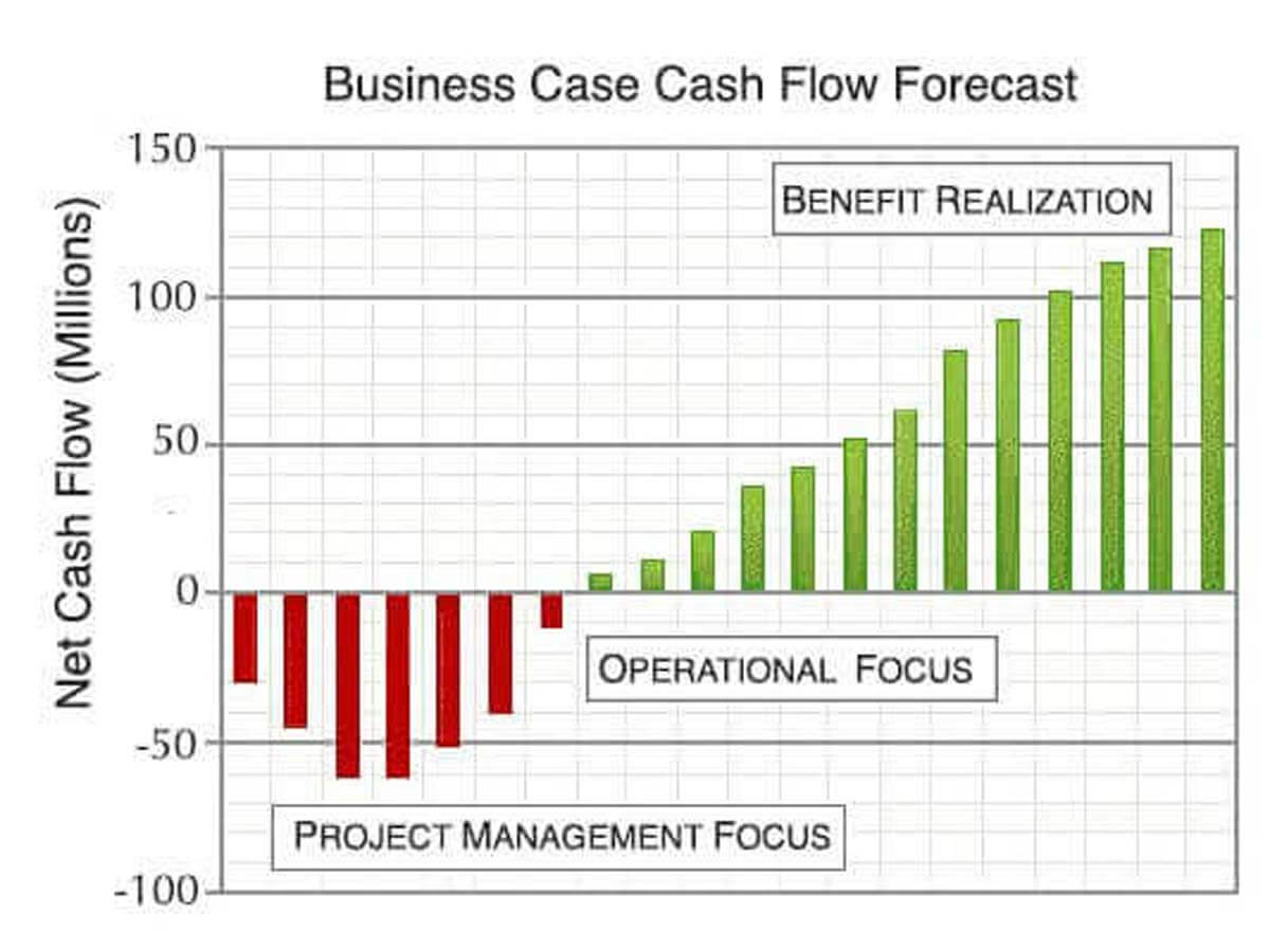 Business Case Results include cash flow forecasts for inflows, outflows, and risks