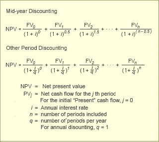 Net Present Value Calculations Mid Year and quarterly