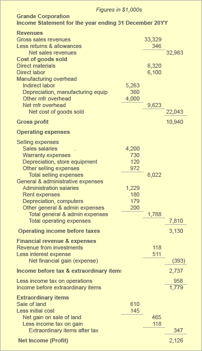 Income statement for activity and efficiency metrics