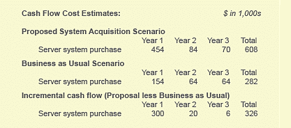 Cash flow estimate estimates for one TCO cost item